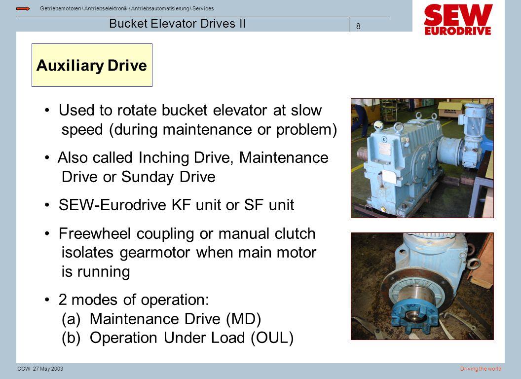 Getriebemotoren \ Antriebselektronik \ Antriebsautomatisierung \ Services Driving the worldCCW 27 May 2003 Bucket Elevator Drives II 8 Auxiliary Drive