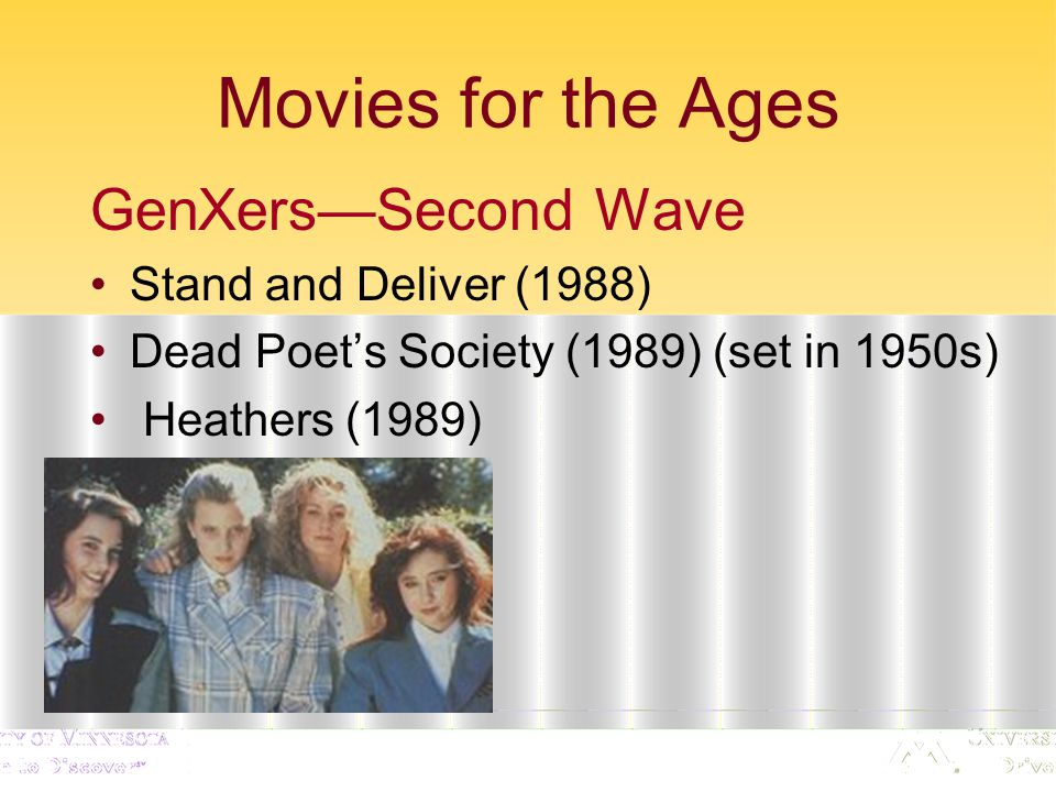 Movies for the Ages GenXers—Second Wave Stand and Deliver (1988) Dead Poet's Society (1989) (set in 1950s) Heathers (1989)