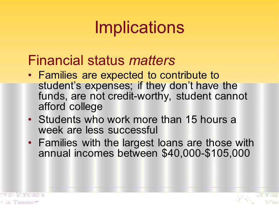 Implications Financial status matters Families are expected to contribute to student's expenses; if they don't have the funds, are not credit-worthy, student cannot afford college Students who work more than 15 hours a week are less successful Families with the largest loans are those with annual incomes between $40,000-$105,000