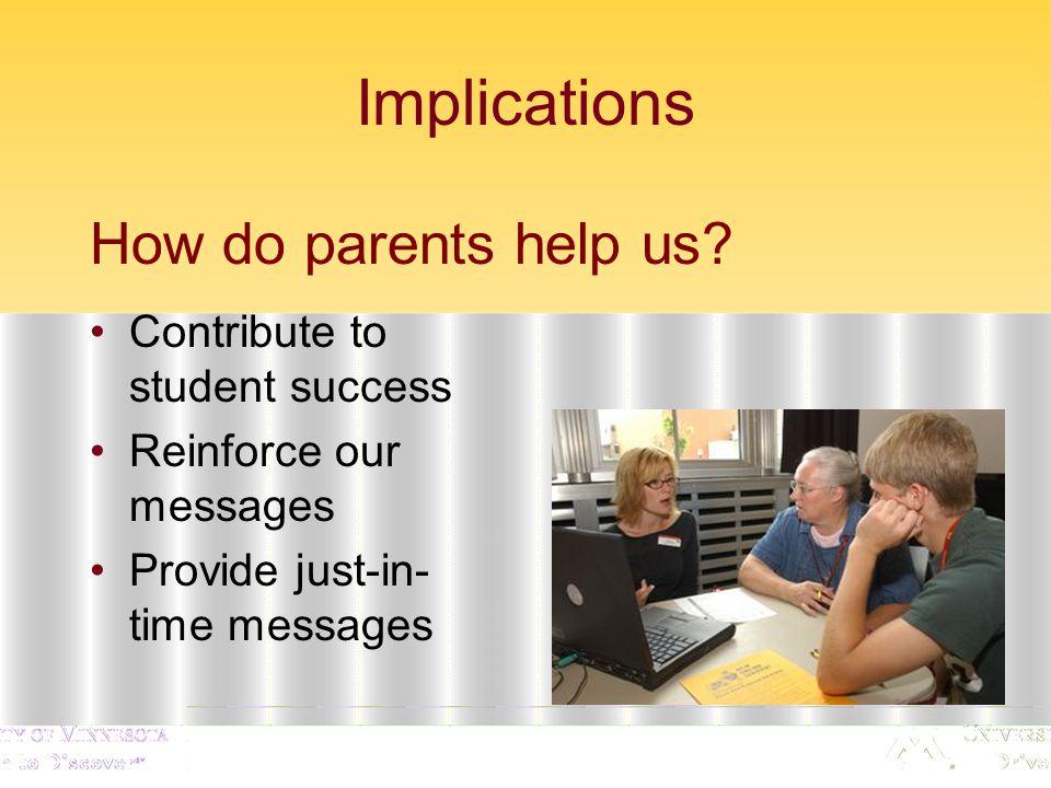Implications How do parents help us.