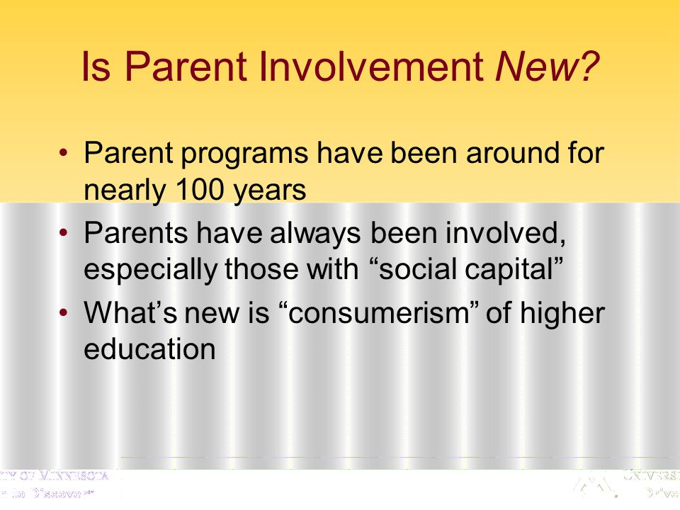 Implications Student satisfaction with parent involvement Who wants more parent involvement.