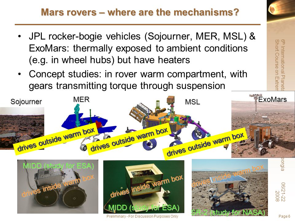 6 th International Planetary Probe Workshop, Atlanta, Georgia Short Course on Extreme Environments Technologies 06/21-22 2008 Preliminary - For Discussion Purposes Only Page 6 Mars rovers – where are the mechanisms.