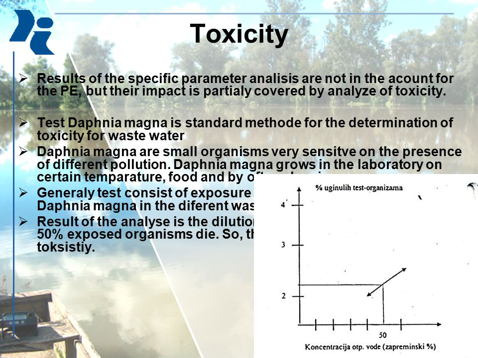 Toxicity  Results of the specific parameter analisis are not in the acount for the PE, but their impact is partialy covered by analyze of toxicity. 