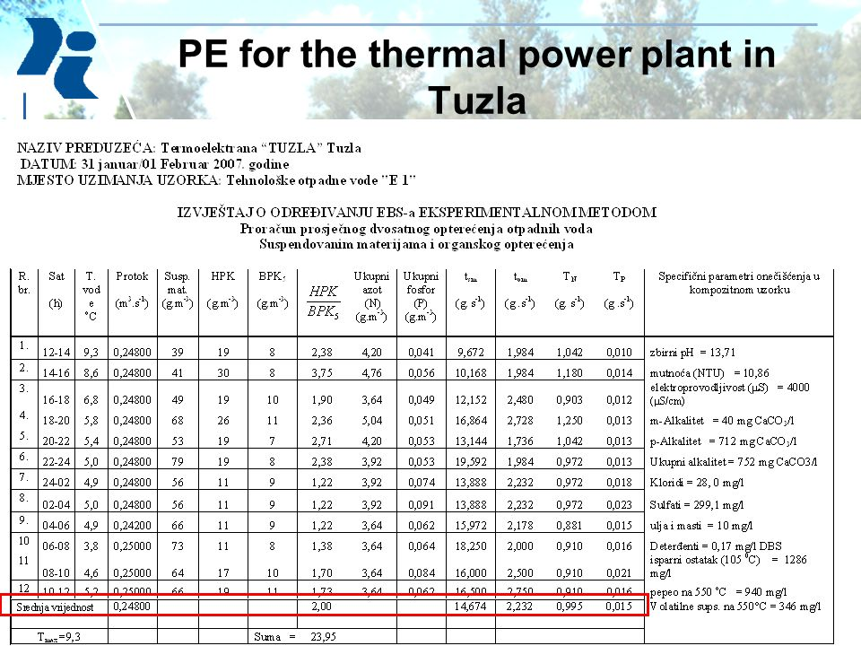 PE for the thermal power plant in Tuzla