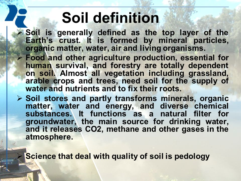 Soil definition  Soil is generally defined as the top layer of the Earth's crust.