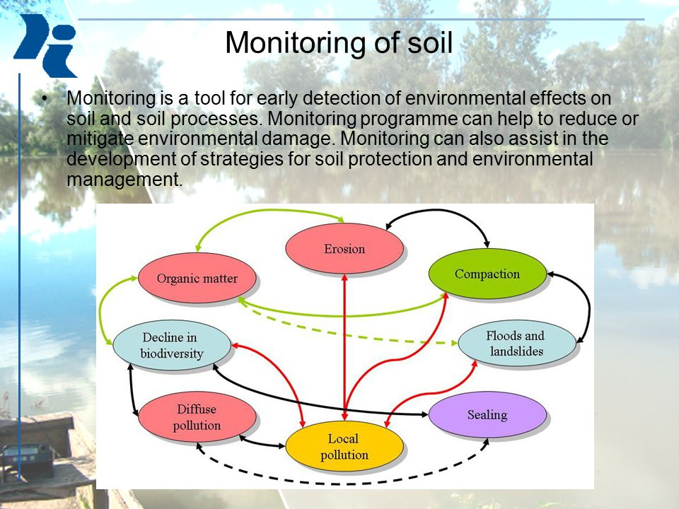 Monitoring of soil Monitoring is a tool for early detection of environmental effects on soil and soil processes. Monitoring programme can help to redu