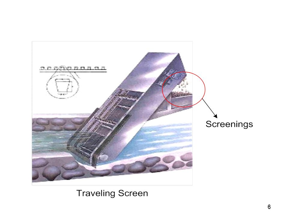 7 Screening  Coarse Screens (Bar Racks): Coarse Screens (Bar Racks): Composed or parallel bars or rods with openings of 0.25-6 and are used to protect pumps, valves from clogging by large objects and rags.
