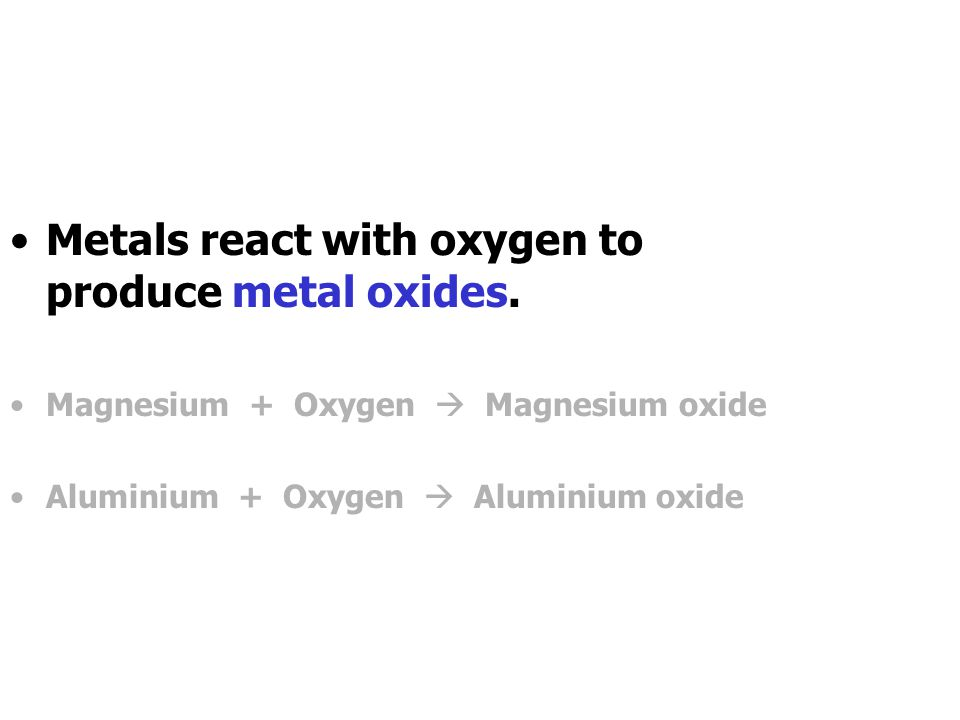 Reactions of Metals Metals react with many different materials.