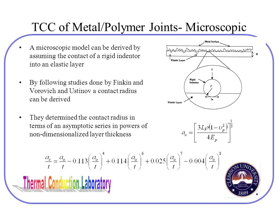 TCC of Metal/Polymer Joints- Microscopic A microscopic model can be derived by assuming the contact of a rigid indentor into an elastic layer By following studies done by Finkin and Vorovich and Ustinov a contact radius can be derived They determined the contact radius in terms of an asymptotic series in powers of non-dimensionalized layer thickness