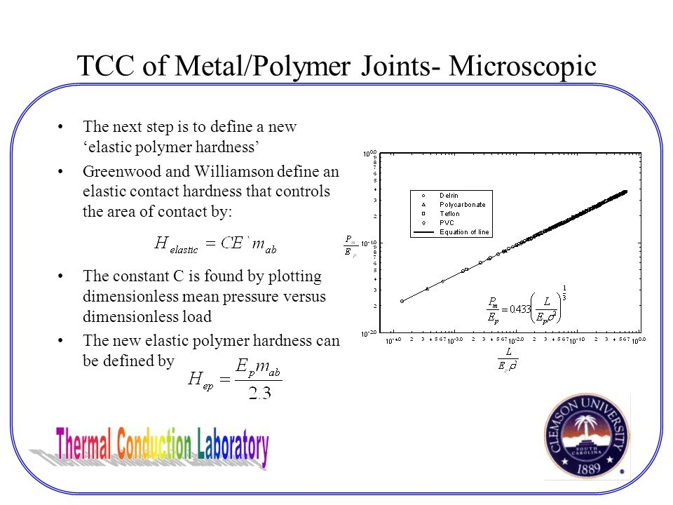 TCC of Metal/Polymer Joints- Microscopic The next step is to define a new 'elastic polymer hardness' Greenwood and Williamson define an elastic contact hardness that controls the area of contact by: The constant C is found by plotting dimensionless mean pressure versus dimensionless load The new elastic polymer hardness can be defined by