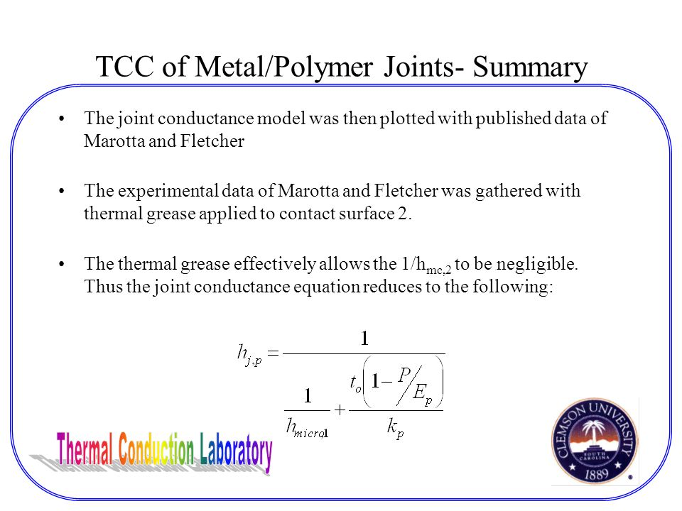 TCC of Metal/Polymer Joints- Summary The joint conductance model was then plotted with published data of Marotta and Fletcher The experimental data of Marotta and Fletcher was gathered with thermal grease applied to contact surface 2.