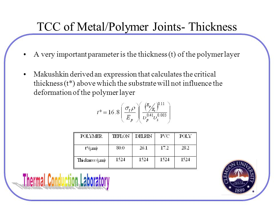 TCC of Metal/Polymer Joints- Thickness A very important parameter is the thickness (t) of the polymer layer Makushkin derived an expression that calculates the critical thickness (t*) above which the substrate will not influence the deformation of the polymer layer