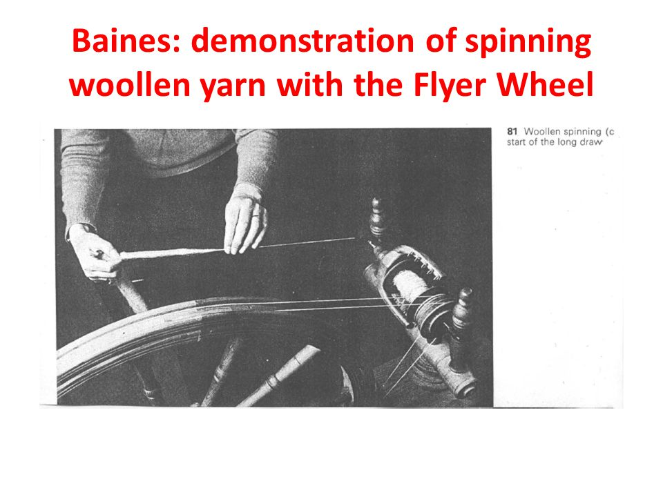 Baines: demonstration of spinning woollen yarn with the Flyer Wheel