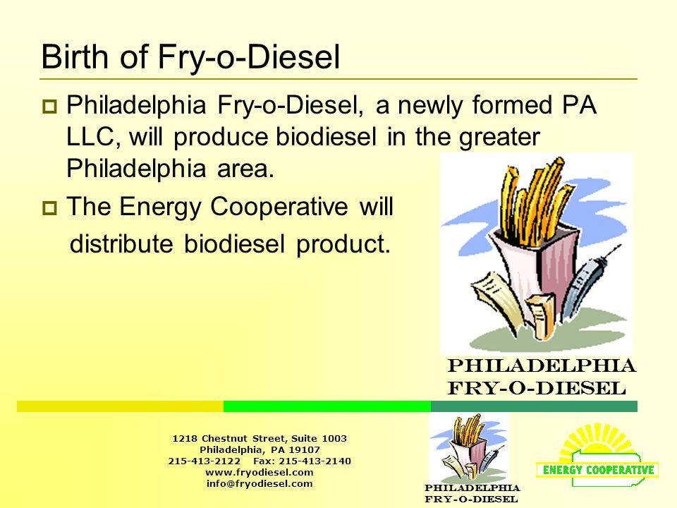 Philadelphia Fry-O-Diesel 1218 Chestnut Street, Suite 1003 Philadelphia, PA 19107 215-413-2122 Fax: 215-413-2140 www.fryodiesel.com info@fryodiesel.com Birth of Fry-o-Diesel  Philadelphia Fry-o-Diesel, a newly formed PA LLC, will produce biodiesel in the greater Philadelphia area.