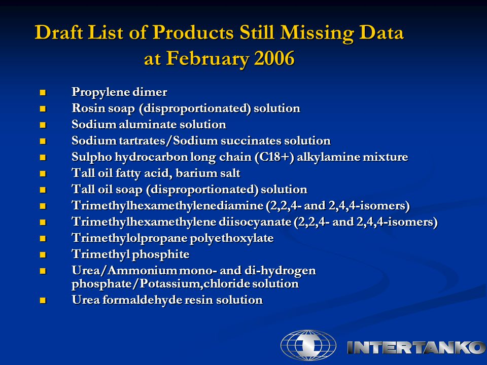Draft List of Products Still Missing Data at February 2006 Propylene dimer Propylene dimer Rosin soap (disproportionated) solution Rosin soap (disproportionated) solution Sodium aluminate solution Sodium aluminate solution Sodium tartrates/Sodium succinates solution Sodium tartrates/Sodium succinates solution Sulpho hydrocarbon long chain (C18+) alkylamine mixture Sulpho hydrocarbon long chain (C18+) alkylamine mixture Tall oil fatty acid, barium salt Tall oil fatty acid, barium salt Tall oil soap (disproportionated) solution Tall oil soap (disproportionated) solution Trimethylhexamethylenediamine (2,2,4- and 2,4,4-isomers) Trimethylhexamethylenediamine (2,2,4- and 2,4,4-isomers) Trimethylhexamethylene diisocyanate (2,2,4- and 2,4,4-isomers) Trimethylhexamethylene diisocyanate (2,2,4- and 2,4,4-isomers) Trimethylolpropane polyethoxylate Trimethylolpropane polyethoxylate Trimethyl phosphite Trimethyl phosphite Urea/Ammonium mono- and di-hydrogen phosphate/Potassium,chloride solution Urea/Ammonium mono- and di-hydrogen phosphate/Potassium,chloride solution Urea formaldehyde resin solution Urea formaldehyde resin solution