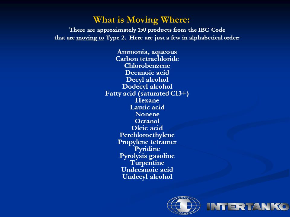 What is Moving Where: There are approximately 150 products from the IBC Code that are moving to Type 2.