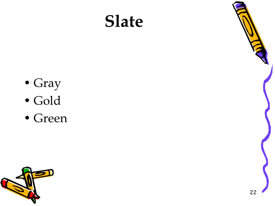 Slate Gray Gold Green 22