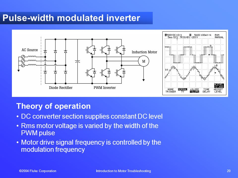 ©2004 Fluke Corporation Introduction to Motor Troubleshooting 20 Theory of operation DC converter section supplies constant DC level Rms motor voltage is varied by the width of the PWM pulse Motor drive signal frequency is controlled by the modulation frequency Pulse-width modulated inverter