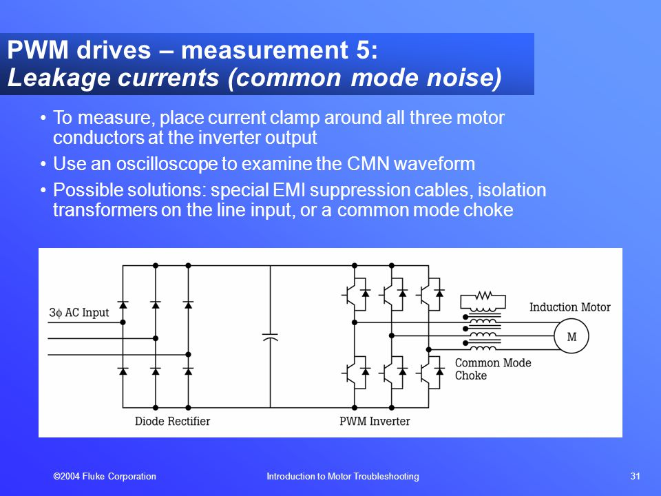 ©2004 Fluke Corporation Introduction to Motor Troubleshooting 31 To measure, place current clamp around all three motor conductors at the inverter output Use an oscilloscope to examine the CMN waveform Possible solutions: special EMI suppression cables, isolation transformers on the line input, or a common mode choke PWM drives – measurement 5: Leakage currents (common mode noise)