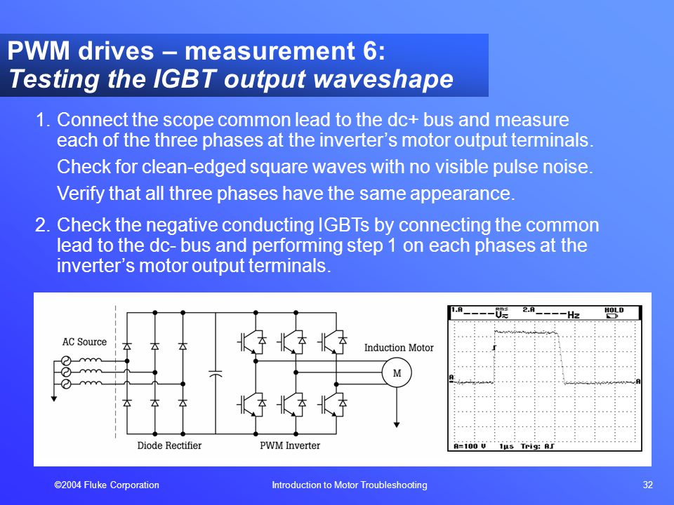 ©2004 Fluke Corporation Introduction to Motor Troubleshooting 32 PWM drives – measurement 6: Testing the IGBT output waveshape 1.Connect the scope common lead to the dc+ bus and measure each of the three phases at the inverter's motor output terminals.
