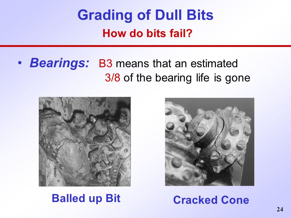 24 Grading of Dull Bits How do bits fail? Bearings: B3 means that an estimated 3/8 of the bearing life is gone Balled up Bit Cracked Cone