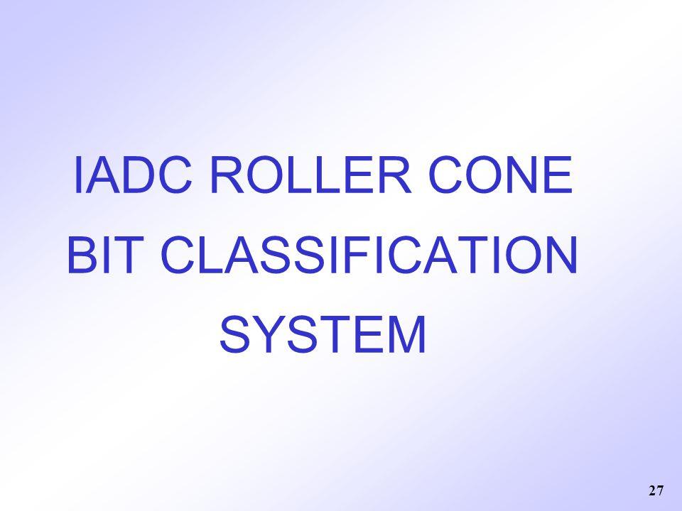 27 IADC ROLLER CONE BIT CLASSIFICATION SYSTEM