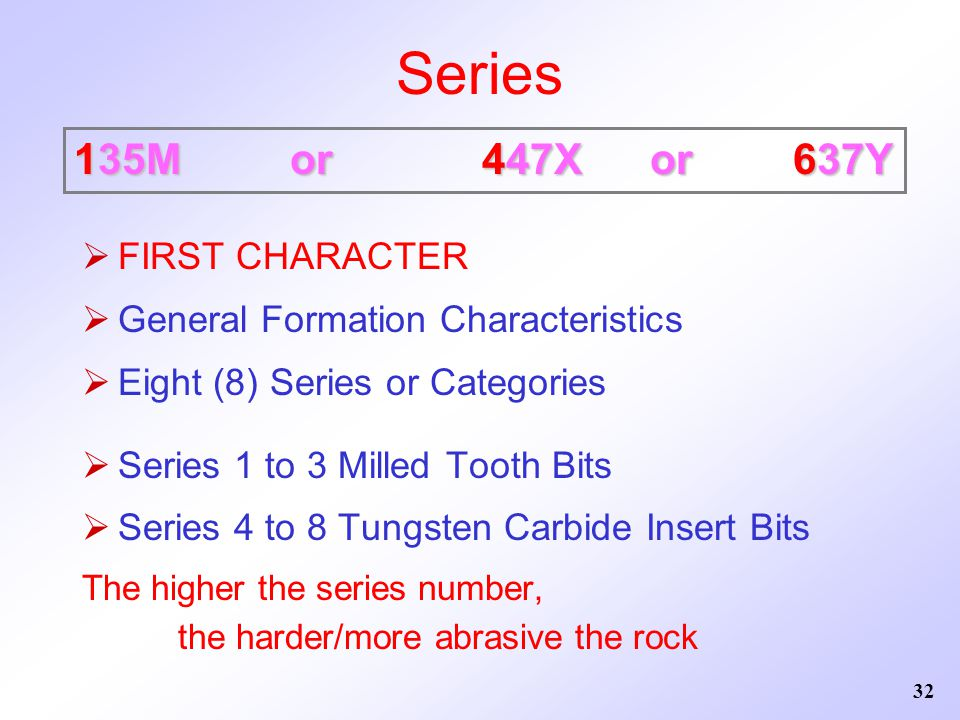 32 Series  FIRST CHARACTER  General Formation Characteristics  Eight (8) Series or Categories  Series 1 to 3 Milled Tooth Bits  Series 4 to 8 Tun