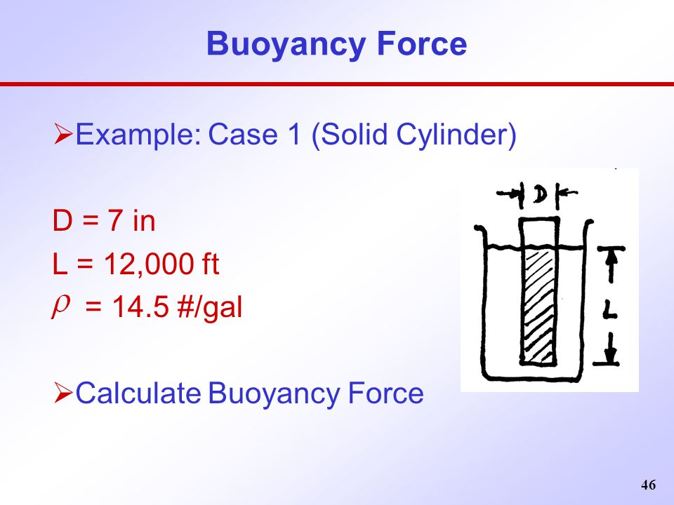 46 Buoyancy Force  Example: Case 1 (Solid Cylinder) D = 7 in L = 12,000 ft = 14.5 #/gal  Calculate Buoyancy Force