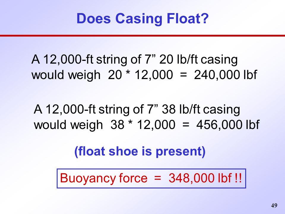 "49 Does Casing Float? A 12,000-ft string of 7"" 20 lb/ft casing would weigh 20 * 12,000 = 240,000 lbf A 12,000-ft string of 7"" 38 lb/ft casing would we"