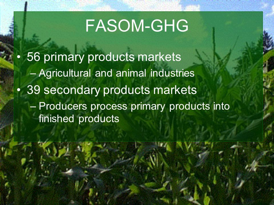 FASOM-GHG 56 primary products markets –Agricultural and animal industries 39 secondary products markets –Producers process primary products into finished products