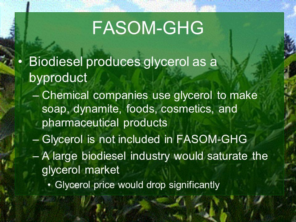 FASOM-GHG Biodiesel produces glycerol as a byproduct –Chemical companies use glycerol to make soap, dynamite, foods, cosmetics, and pharmaceutical products –Glycerol is not included in FASOM-GHG –A large biodiesel industry would saturate the glycerol market Glycerol price would drop significantly