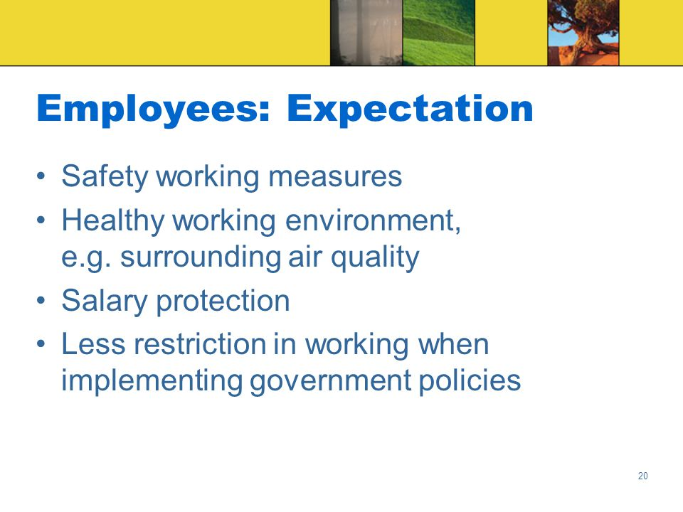 20 Employees: Expectation Safety working measures Healthy working environment, e.g.