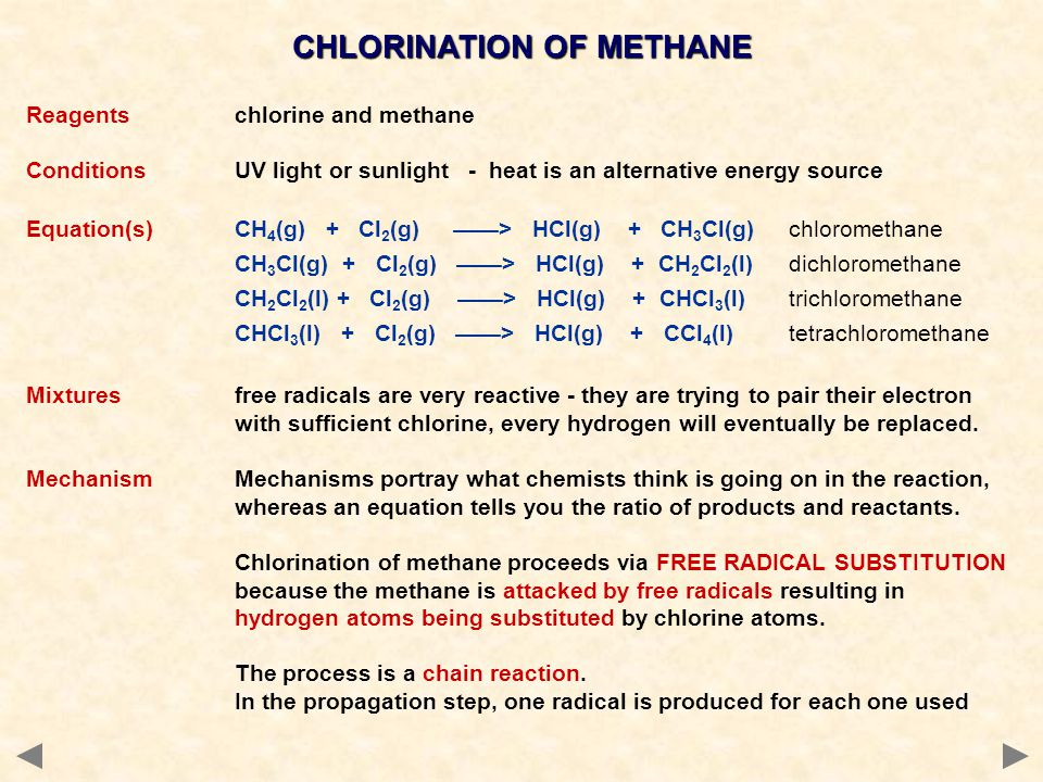 Reagentschlorine and methane ConditionsUV light or sunlight - heat is an alternative energy source Equation(s)CH 4 (g) + Cl 2 (g) ——> HCl(g) + CH 3 Cl