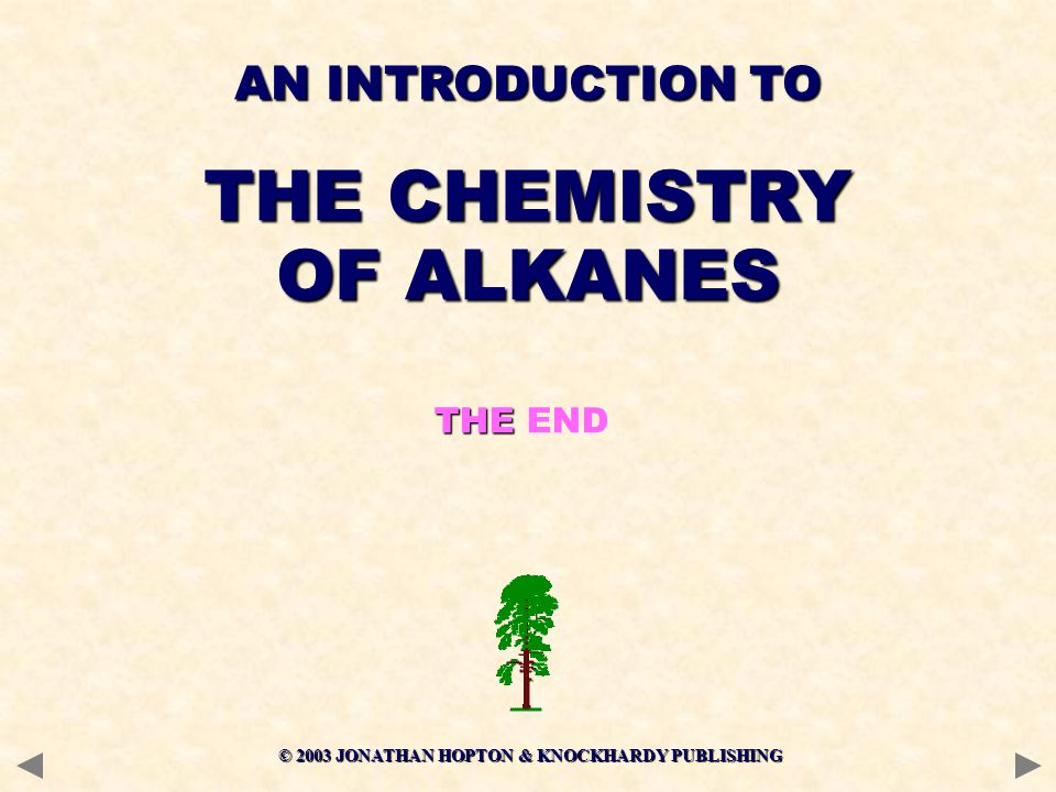 © 2003 JONATHAN HOPTON & KNOCKHARDY PUBLISHING THE THE END AN INTRODUCTION TO THE CHEMISTRY OF ALKANES