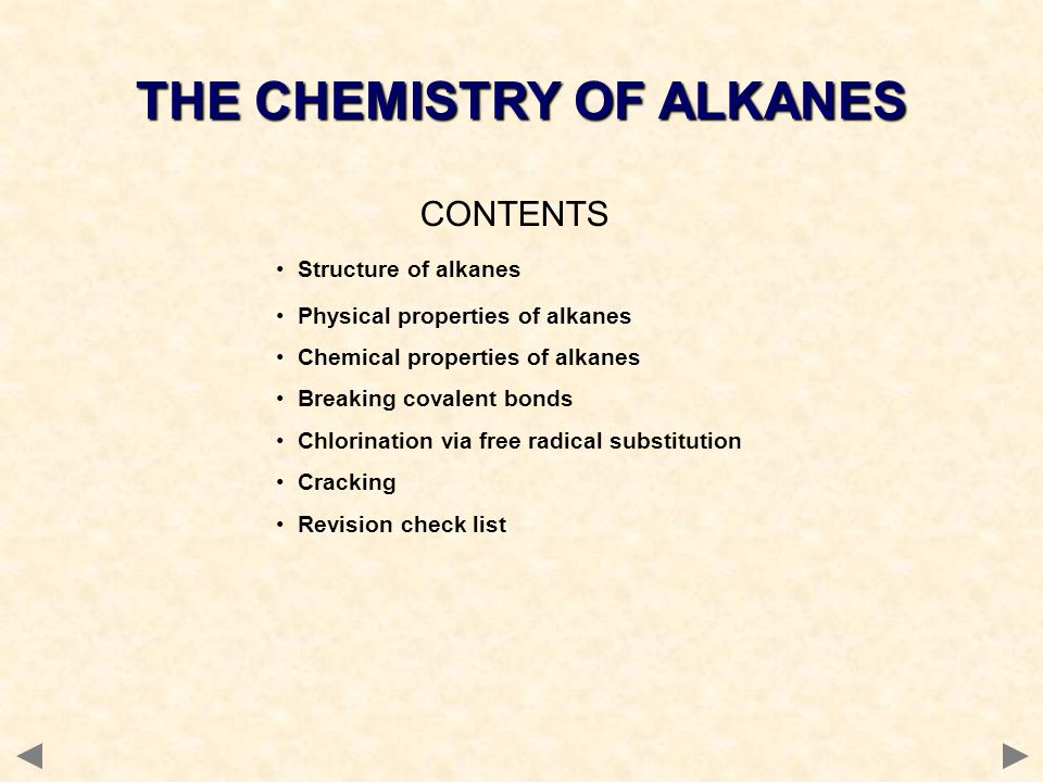 CONTENTS Structure of alkanes Physical properties of alkanes Chemical properties of alkanes Breaking covalent bonds Chlorination via free radical subs