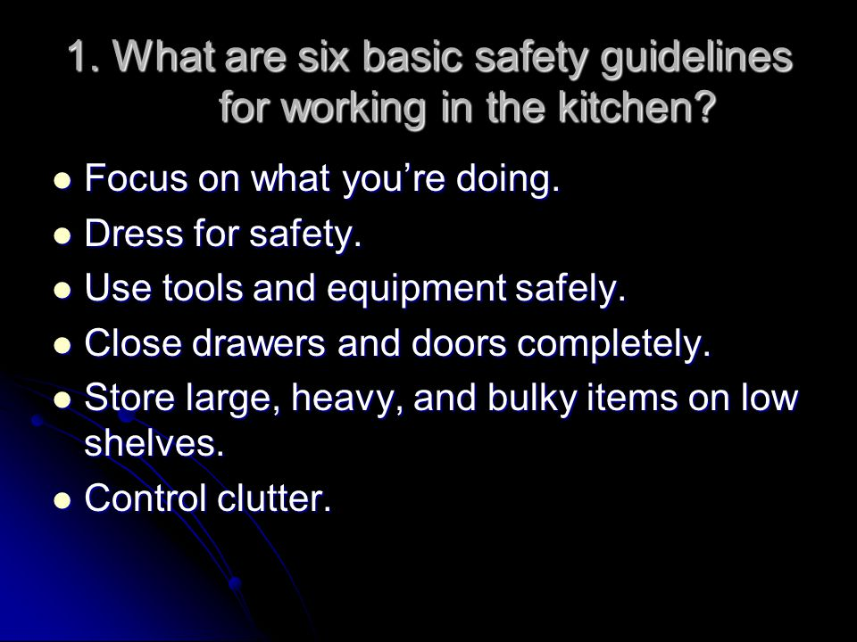 2.What safety precautions can be taken to prevent falls in the kitchen.