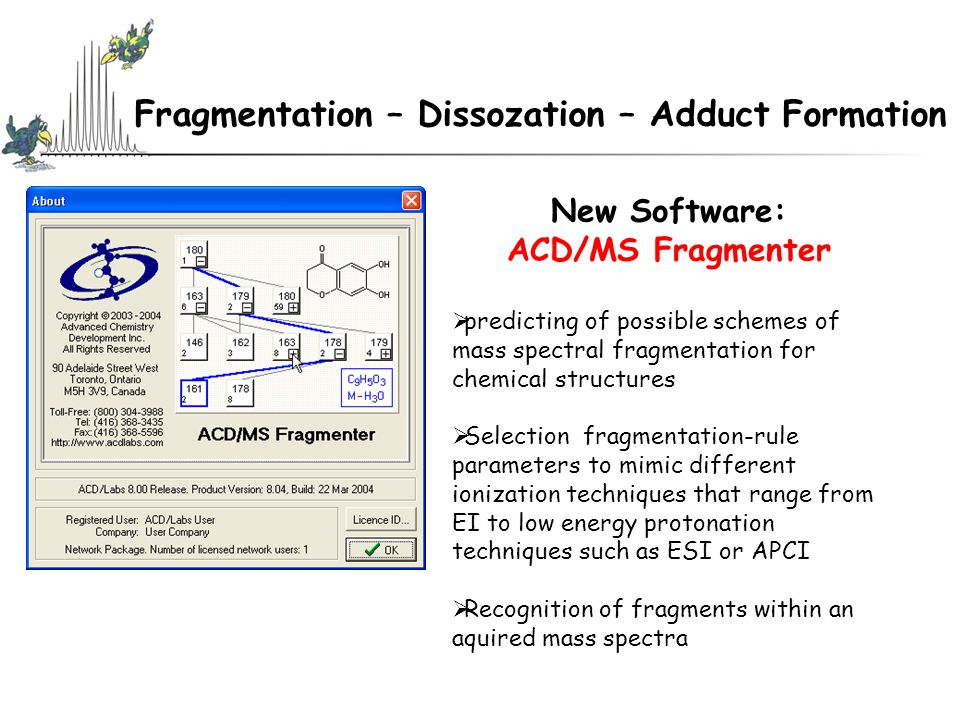 Fragmentation – Dissozation – Adduct Formation New Software: ACD/MS Fragmenter  predicting of possible schemes of mass spectral fragmentation for chemical structures  Selection fragmentation-rule parameters to mimic different ionization techniques that range from EI to low energy protonation techniques such as ESI or APCI  Recognition of fragments within an aquired mass spectra