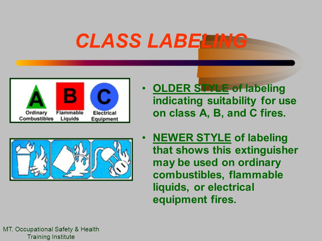 CLASS LABELING OLDER STYLE of labeling indicating suitability for use on class A, B, and C fires.