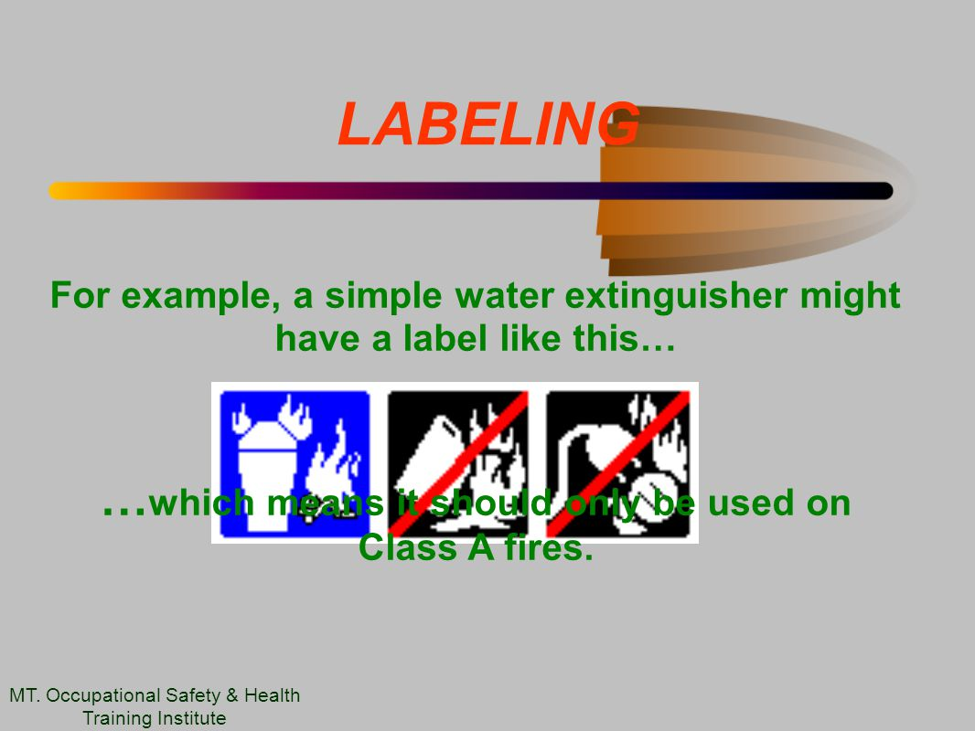 LABELING For example, a simple water extinguisher might have a label like this… … which means it should only be used on Class A fires.