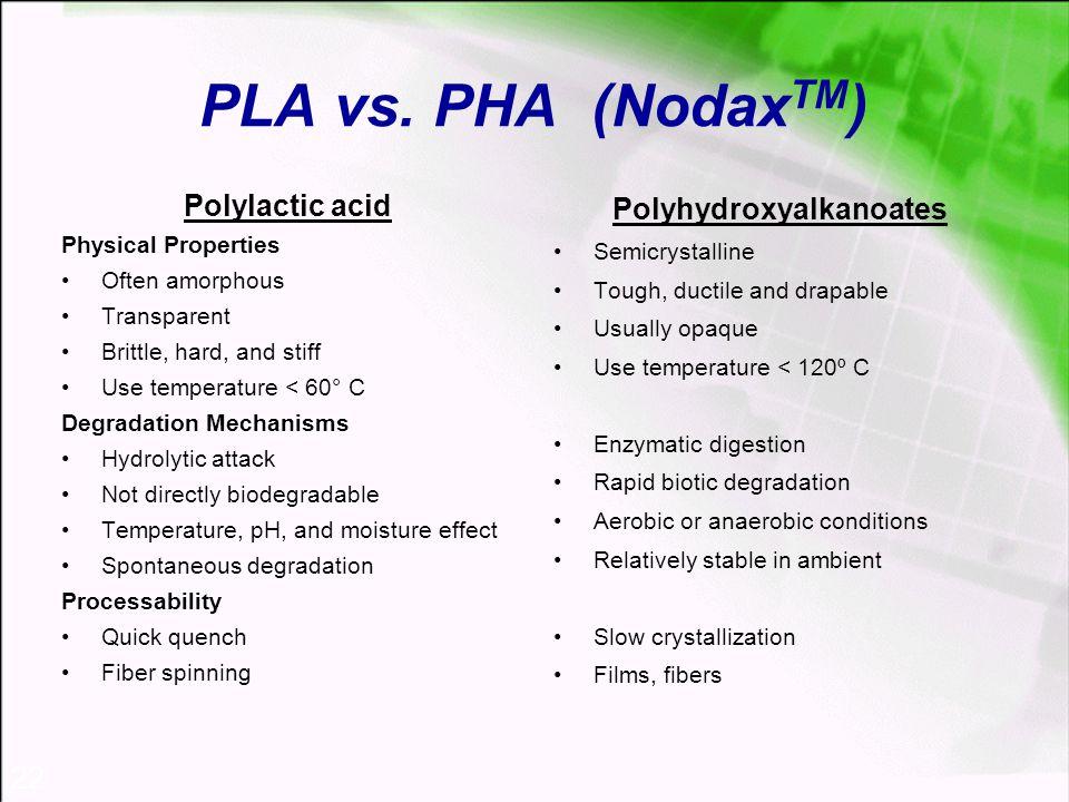 22 PLA vs. PHA (Nodax TM ) Polylactic acid Physical Properties Often amorphous Transparent Brittle, hard, and stiff Use temperature < 60° C Degradatio