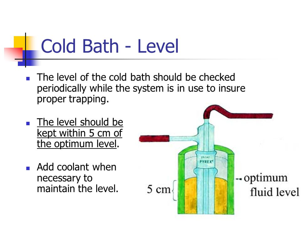 Cold Bath - Level The level of the cold bath should be checked periodically while the system is in use to insure proper trapping.