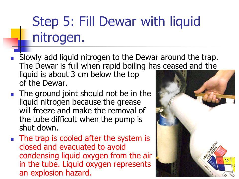 Step 5: Fill Dewar with liquid nitrogen. Slowly add liquid nitrogen to the Dewar around the trap.