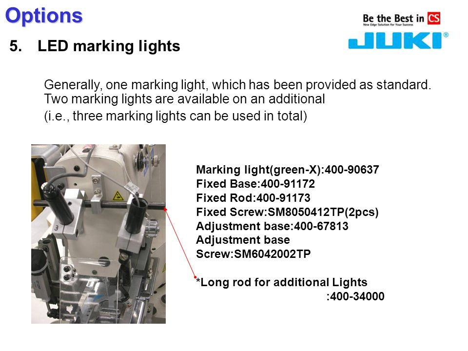 Options 5. LED marking lights Generally, one marking light, which has been provided as standard.