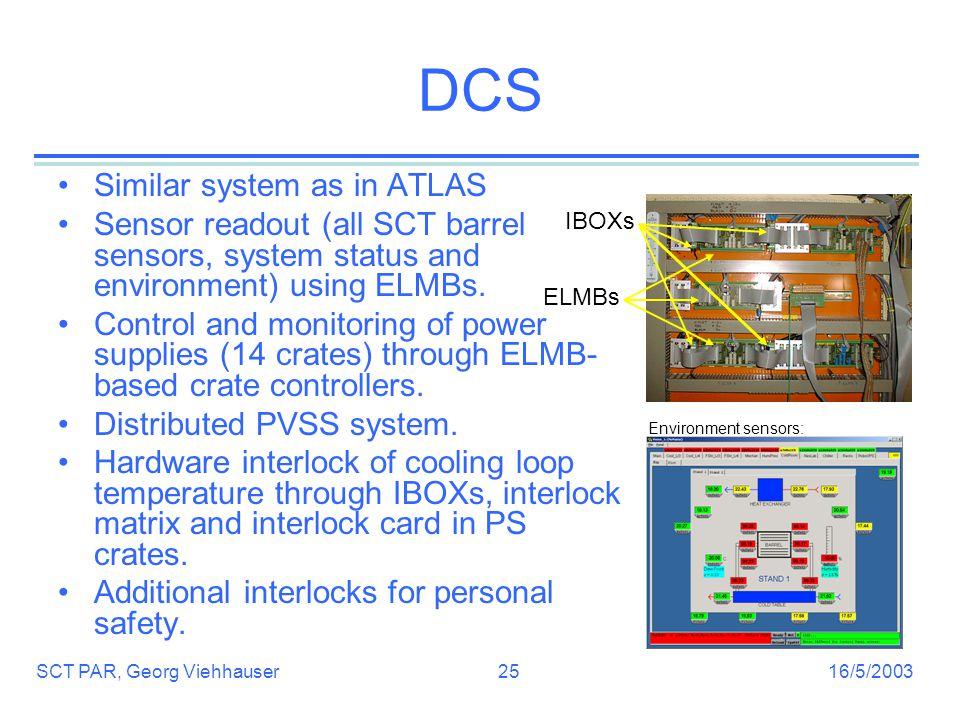 16/5/2003SCT PAR, Georg Viehhauser25 DCS Similar system as in ATLAS Sensor readout (all SCT barrel sensors, system status and environment) using ELMBs.