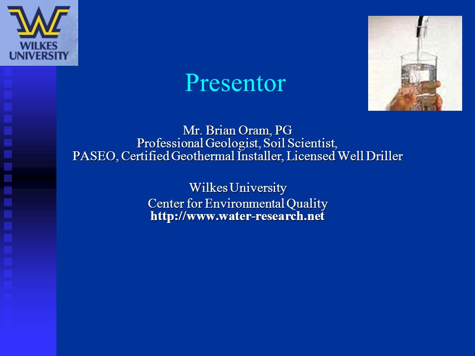 Water Testing Recommendation Package # 2- Based on what the PADEP is Recommendations.