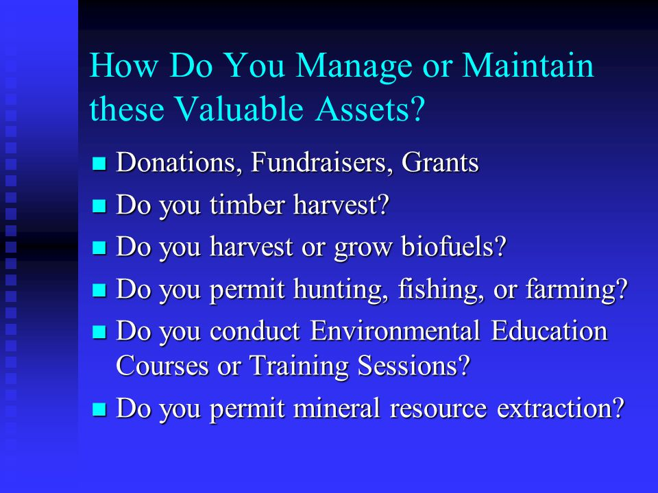 How Do You Manage or Maintain these Valuable Assets? Donations, Fundraisers, Grants Donations, Fundraisers, Grants Do you timber harvest? Do you timbe
