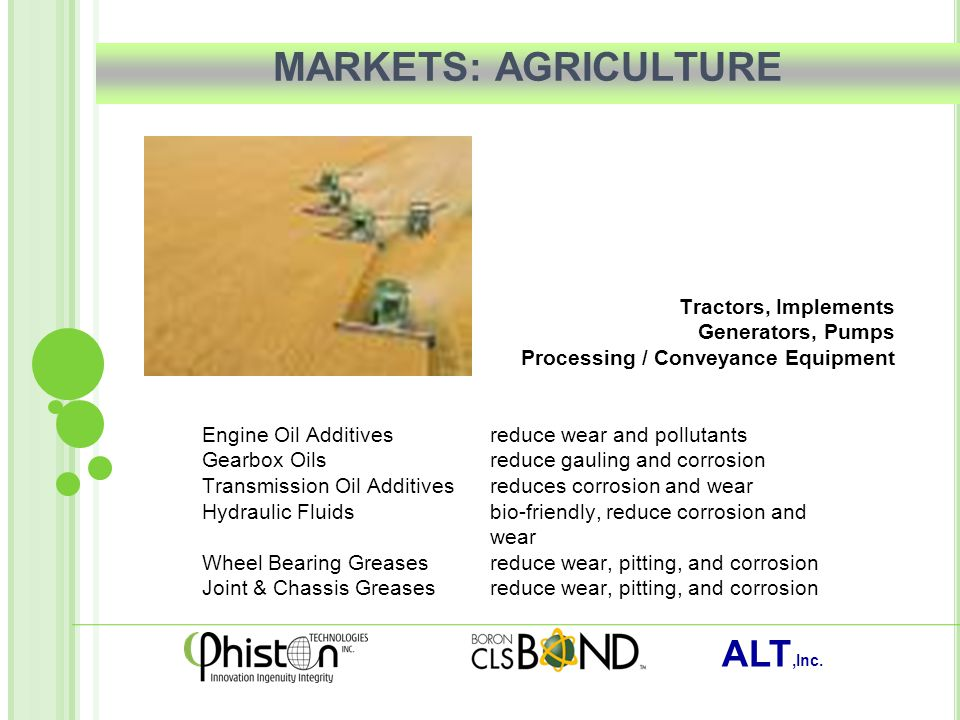 ALT,Inc. MARKETS: AGRICULTURE Tractors, Implements Generators, Pumps Processing / Conveyance Equipment Engine Oil Additivesreduce wear and pollutants