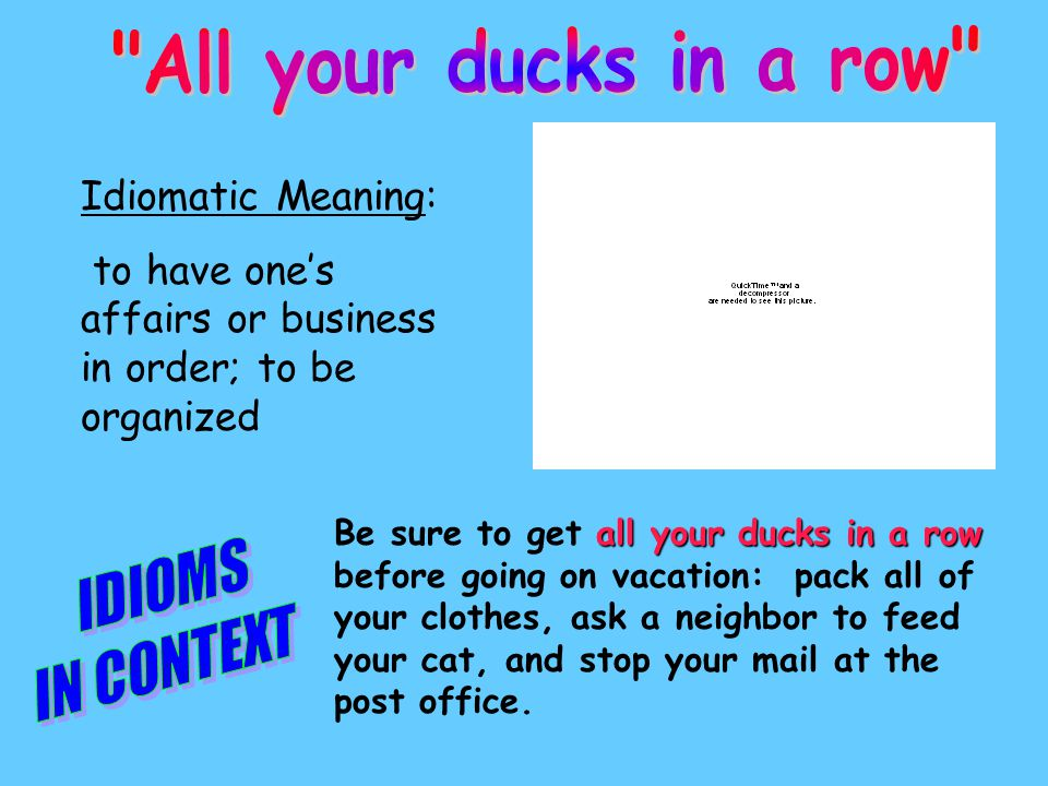 Idiomatic Meaning: to have one's affairs or business in order; to be organized all your ducks in a row Be sure to get all your ducks in a row before going on vacation: pack all of your clothes, ask a neighbor to feed your cat, and stop your mail at the post office.