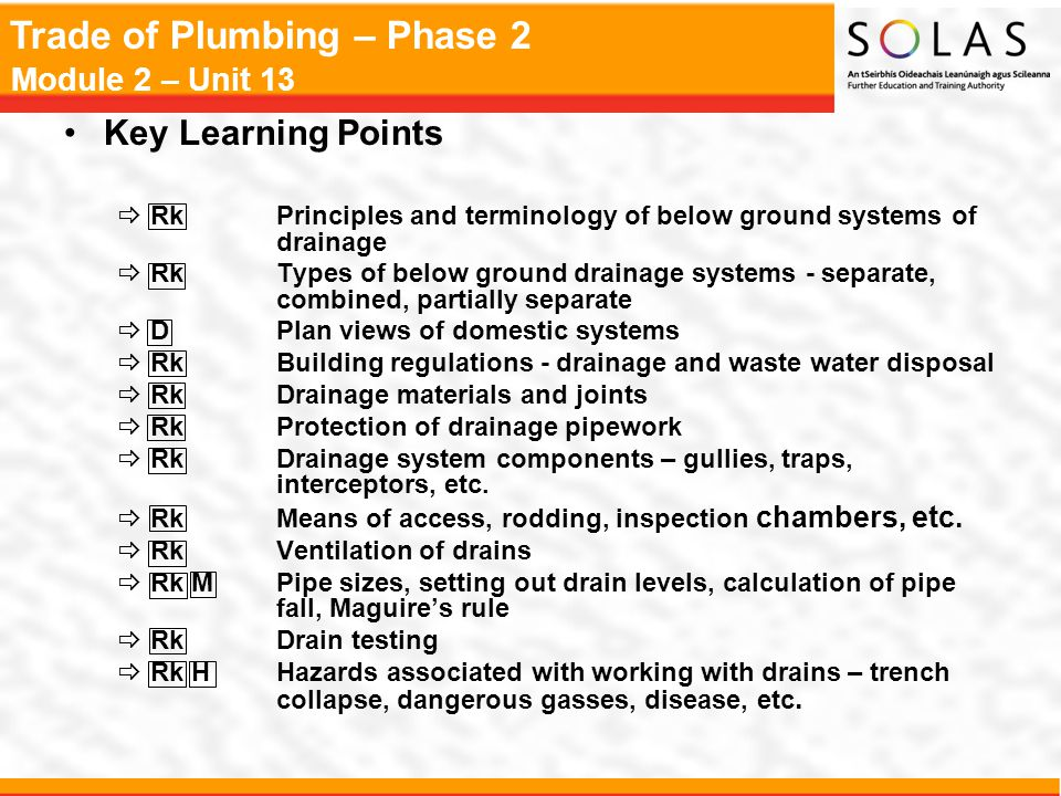 Trade of Plumbing – Phase 2 Module 2 – Unit 13 Maguire's Rule Pipe Diameter (mm)Recommended Fall 1001 in 40 1501 in 60 2251 in 90