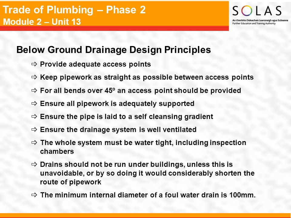 Trade of Plumbing – Phase 2 Module 2 – Unit 13 Protection of Pipework Bedding for Flexible Pipes Bedding for Rigid Pipes